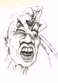 Desenho de um paciente que tem cefaleia em salvas. Uma dor terrível!